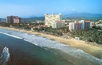High-rise hotels on Playa El Palmar in Ixtapa, Mexico